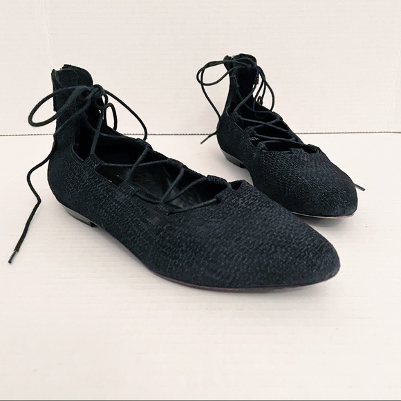 Eileen Fisher Loop 2 Black Lace Up Pointed Flats